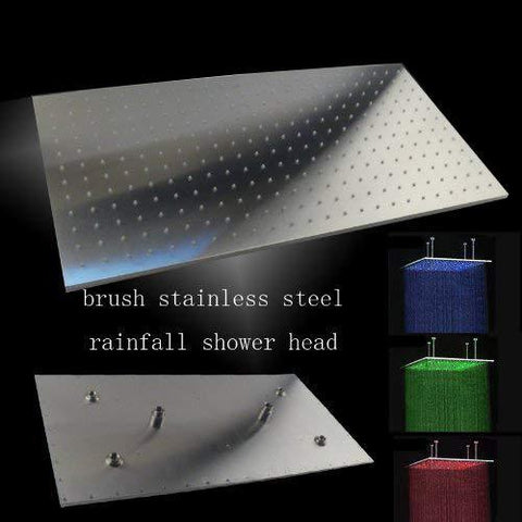 "24""x48"" Ceiling Mount Rainfall LED Shower Head, include Shower Arm - Cascada Showers"