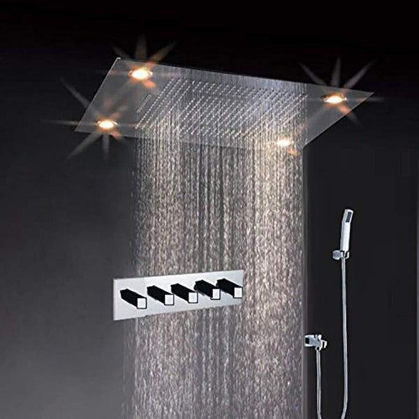 "31"" Celeing Mount Waterfall LED Rain Mixer Shower Combo Set - Cascada Showers"