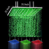"31"" Square Ceiling Mount Rainfall LED Shower Head, include Shower Arm - Cascada Showers"