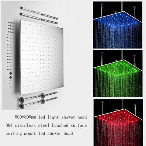 "31"" Stainless Steel Luxury Square LED Rain Bathroom Shower Heads - Cascada Showers"