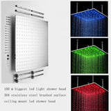 "40"" Luxury Ceiling Mount LED Rainfall Thermostatic Shower Set - Cascada Showers"