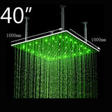 "40"" Square Ceiling Mount Rainfall LED Shower Head, include Shower Arm - Cascada Showers"