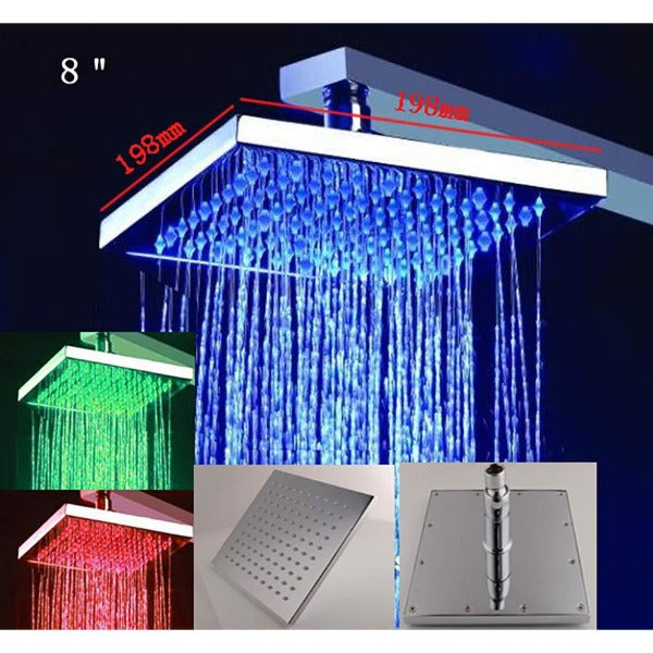"8"" Rainfall LED Shower Set Double-Function Valve, Brass Handheld Shower - Cascada Showers"