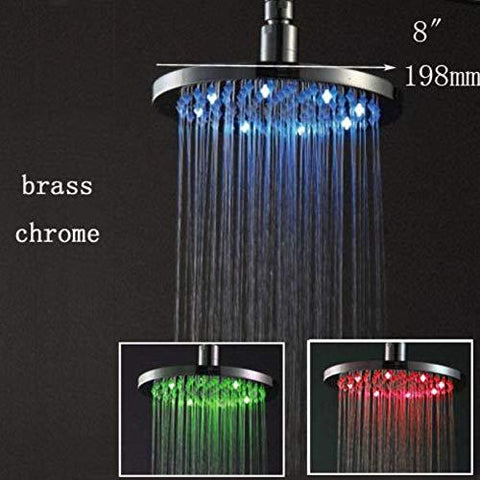 "8"" Round Multi Color LED Rain Shower Head, Polished Chrome - Cascada Showers"