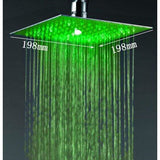 "8"" Square Ceiling Mount Rainfall LED Shower Head, include Shower Arm - Cascada Showers"