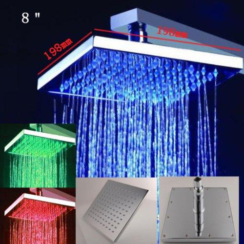 "8"" Square Multi Color LED Rain Shower Head, Brushed Nickel - Cascada Showers"