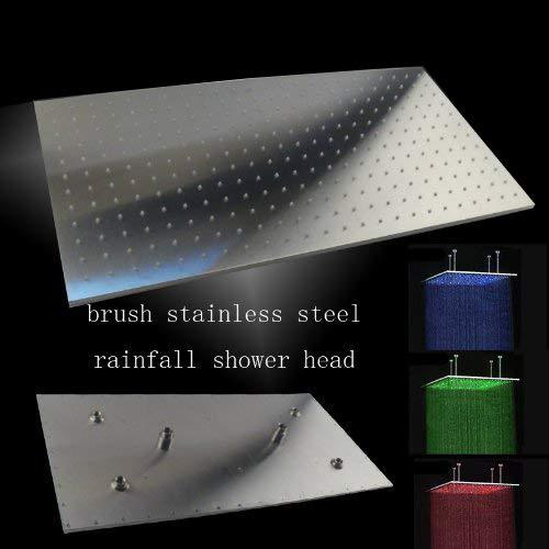 "8""x16"" Ceiling Mount Rainfall LED Shower Head, include Shower Arm - Cascada Showers"