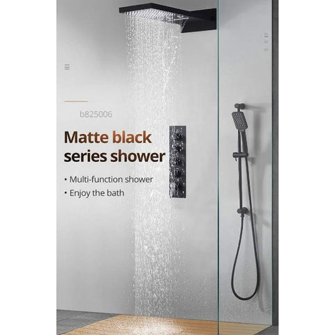 "9""x22"" Matt Black Wall Mounted Multi Settings Shower System - Cascada Showers"