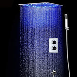 "Cascada Luxury 20"" Square Ceiling Mounted Thermostatic Shower System- 2 Rainfall Mode With Automated LED Light RGB Color - Stainless Steel (20 Inch, Oil Rubbed Bronze) - Cascada Showers"