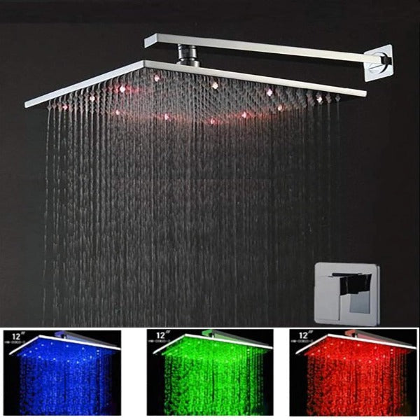 "Cascada Multi Color Led Shower System with 12"" Shower Head - Cascada Showers"