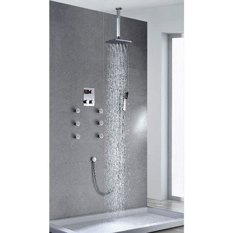 "Ceiling Mount 12"" Square Rainfall Luxury Shower Head Set - Cascada Showers"