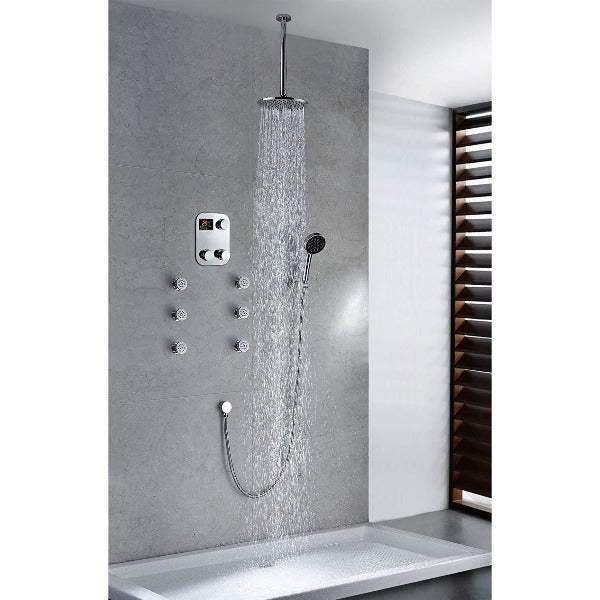 "Ceiling Mount Luxury 12"" Circular Rainfall Shower Head Set - Cascada Showers"