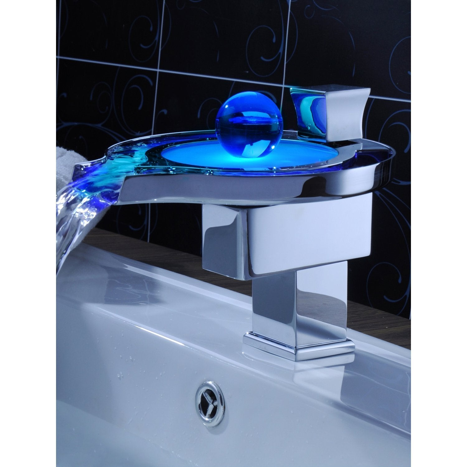 Color Changing LED Waterfall Bathroom Sink Faucet - Cascada Showers