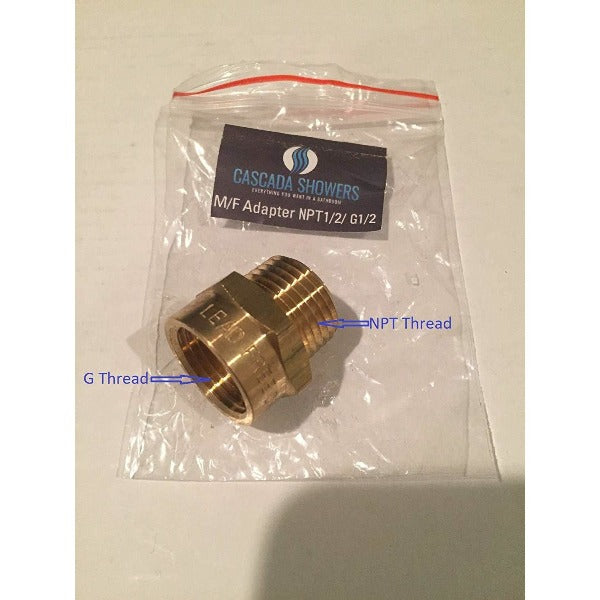"G Thread 1/2"" Female to NPT Thread 1/2"" Male Pipe Fitting Adapter - Cascada Showers"
