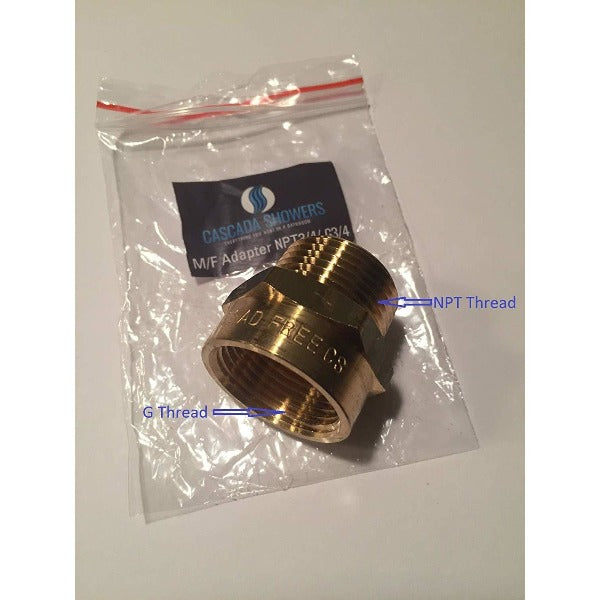 "G Thread 3/4"" Female to NPT Thread Male Pipe Fitting Adapter - Cascada Showers"