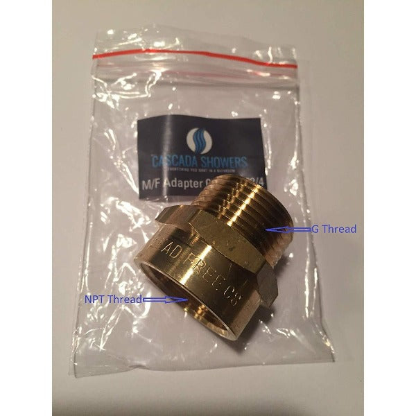 "G Thread 3/4"" Male to NPT Thread Female Pipe Fitting Adapter - Cascada Showers"