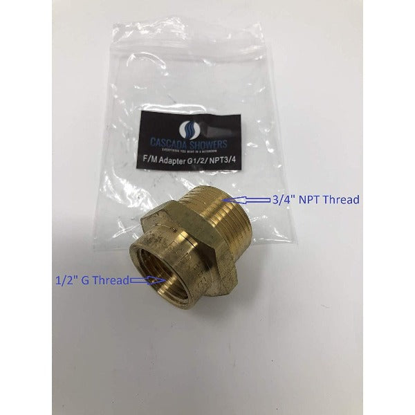 "G1/2"" Pipe fittings female Thread Water Pipe to 3/4"" NPT Male Adapter - Cascada Showers"