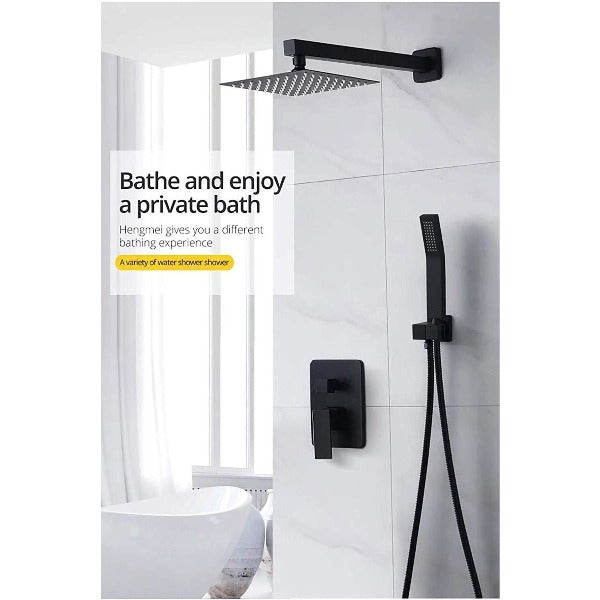"Luxury 10"" Square Wall Mounted Shower System, Dual Handle - Cascada Showers"