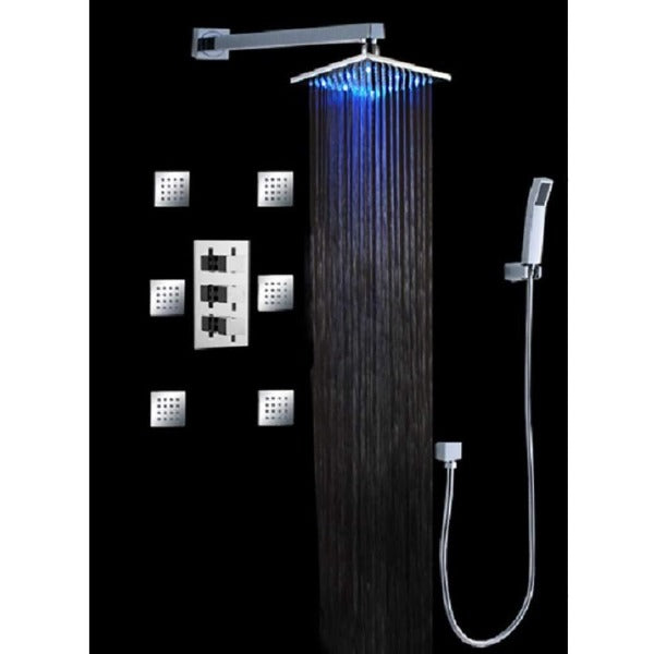 "Luxury 12"" Wall Mount Square Led Rainfall Shower Head Set - Cascada Showers"