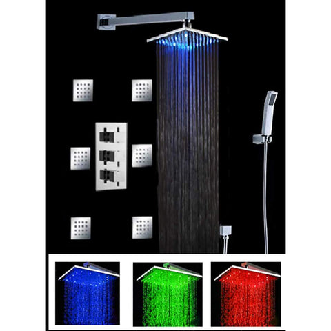 "Luxury Shower Set With 12"" Square LED Rainfall Ceiling Mount Shower Head - Cascada Showers"