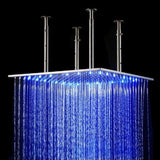 "Luxury Square Stainless Steel 20"" LED Rain Shower Head - Cascada Showers"