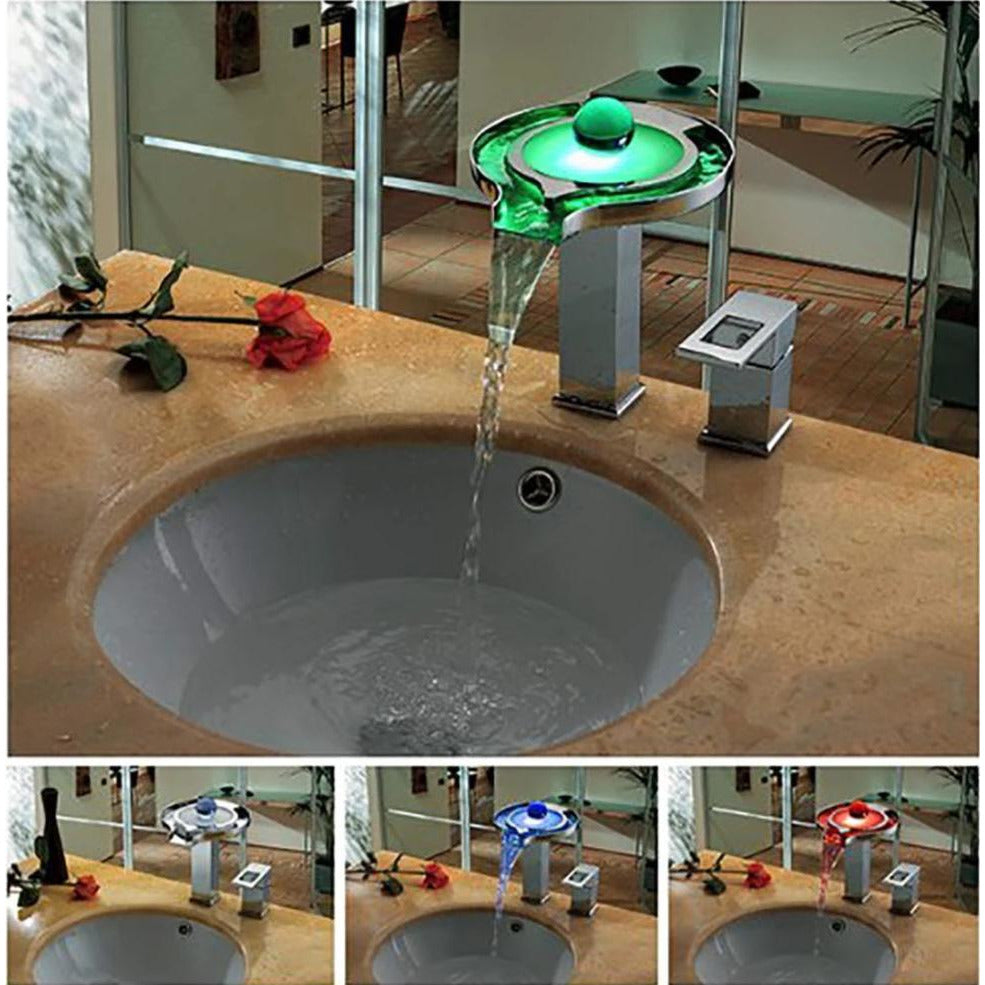 Single Handle Deck Mounted Vanity Sink LED Faucet - Cascada Showers