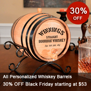 Personalized Mini Whiskey Barrel with Black Hoops