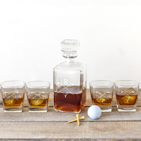 Personalized Golf Decanter and Rocks Glass Set