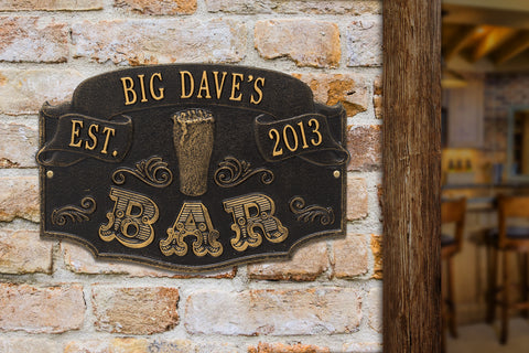 Personalized Established Year Bar Plaque, Cast Aluminum