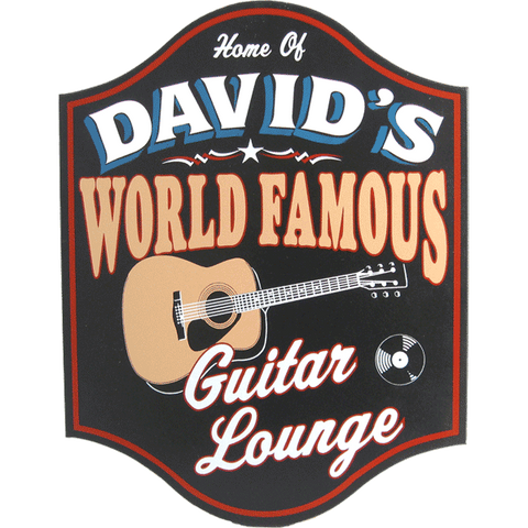 Handcrafted Guitar Lounge Sign with Personalization