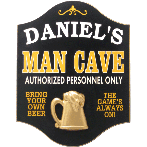 Handcrafted Man Cave Sign with Personalization - Personalized Gifts for Men - GUYVILLE