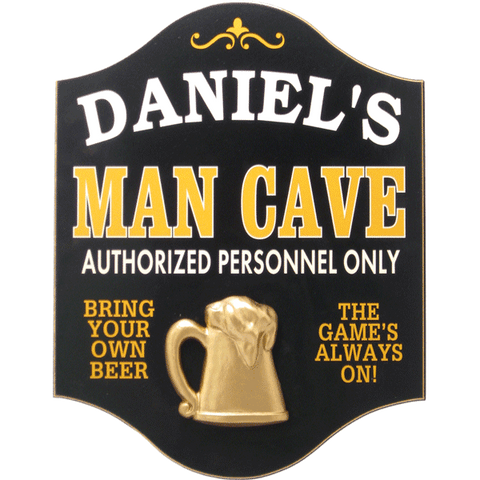 Handcrafted Man Cave Sign with Personalization