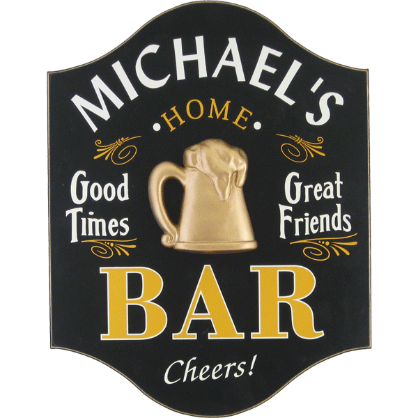"Handcrafted ""Good Times"" Bar Sign with Personalization - Personalized Gifts for Men - GUYVILLE"