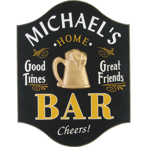 "Handcrafted ""Good Times"" Bar Sign with Personalization"