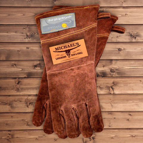 Personalized Leather Grilling Gloves (Longhorn Bar & Grill)