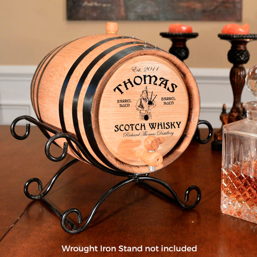 Bagpipe Irish Whiskey Design Personalized Oak Barrel - Personalized Gifts for Men - GUYVILLE