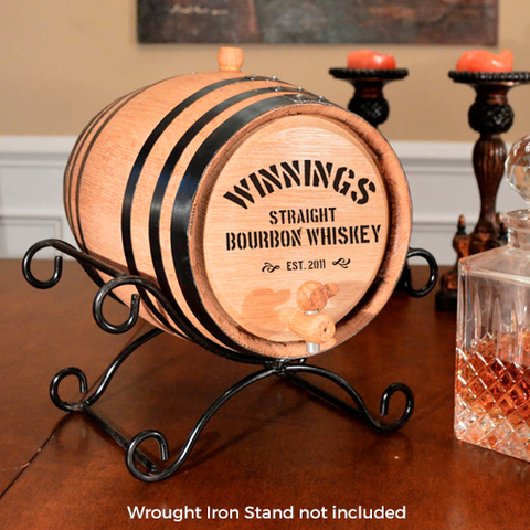 Block Print Personalized Whiskey Barrel
