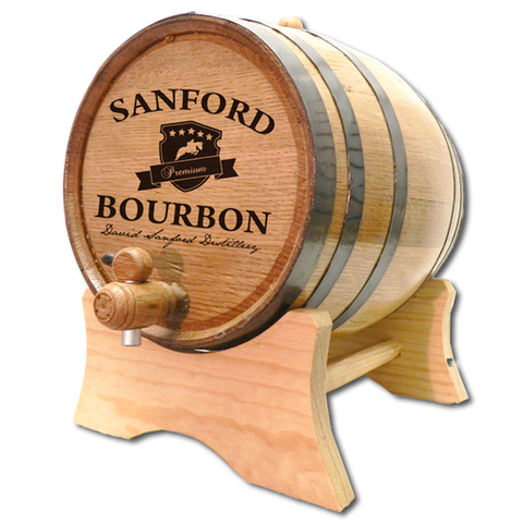 Bourbon Crest Personalized Whiskey Barrel