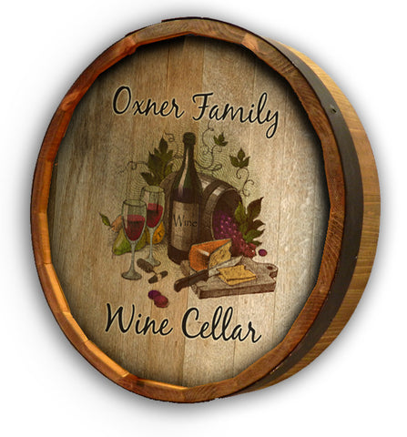 Personalized Wine Cellar Color Quarter Barrel Sign
