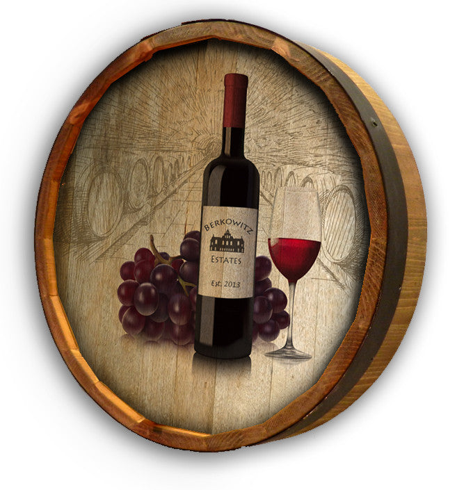 Personalized Wine Bottle w_Grapes Color Quarter Barrel