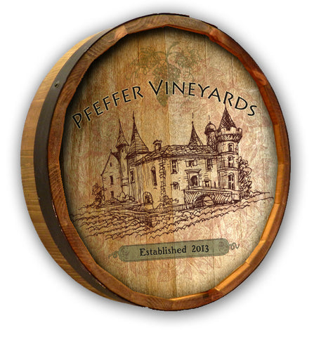 Personalized Vintage Vineyard Color Quarter Barrel Top Sign