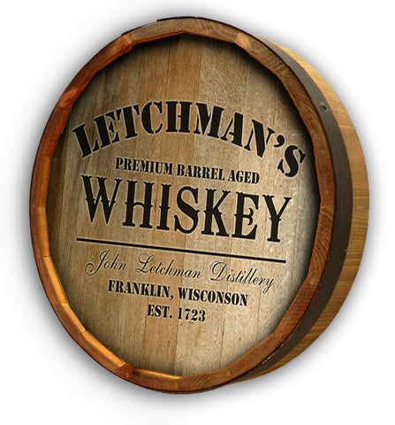 Personalized Distillery Color Quarter Barrel Top Sign