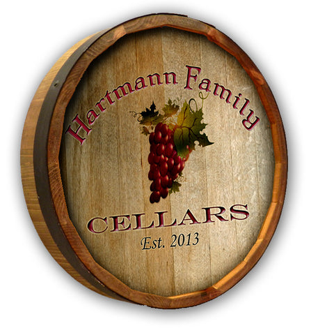Personalized Hartmann Cellars Quarter Barrel Top Sign