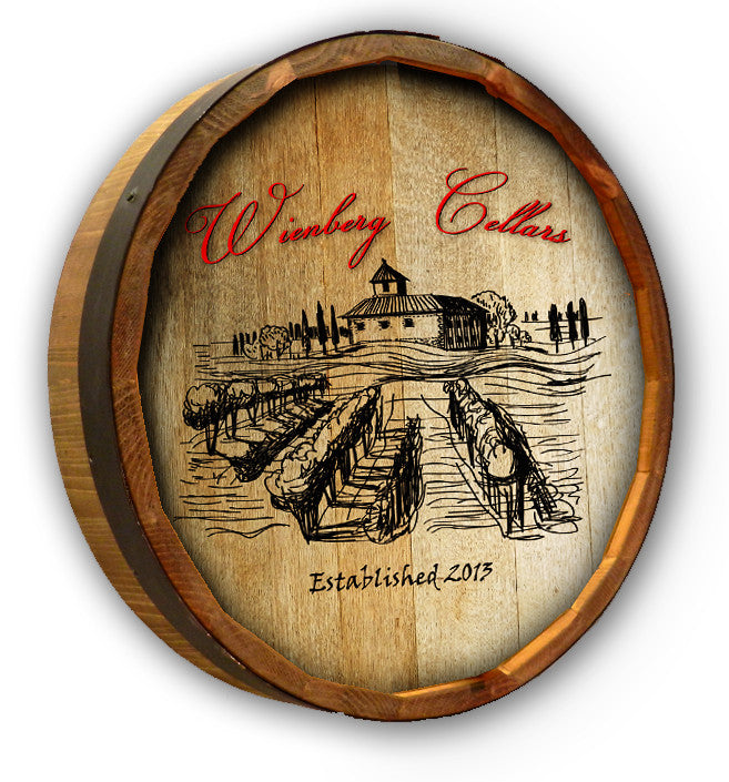 Personalized Wienberg Cellars Color Quarter Barrel Sign - Personalized Gifts for Men - GUYVILLE