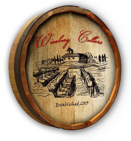 Personalized Wienberg Cellars Color Quarter Barrel Sign