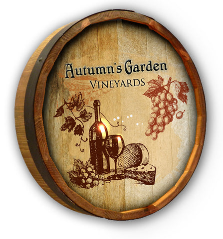 Personalized Autumn Garden Color Quarter Barrel Top Sign