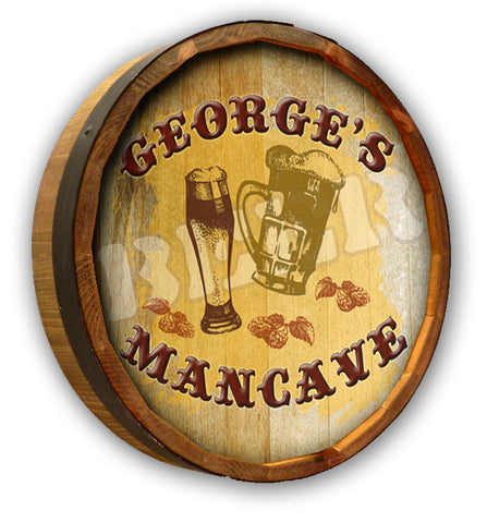 Personalized Beer Mancave Color Quarter Barrel Top Sign