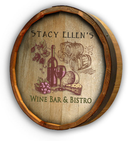 Personalized Wine & Cheese Color Quarter Barrel Sign