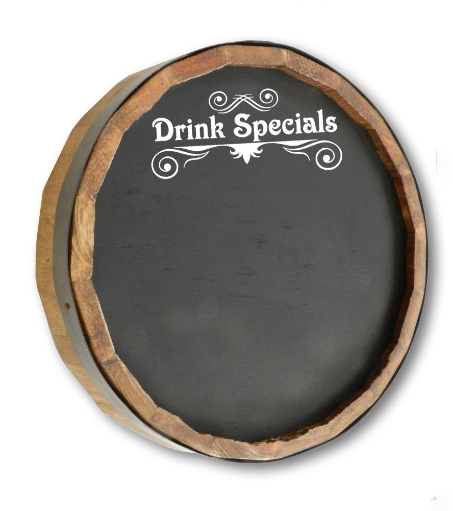 Drink Specials Quarter Barrel Top Chalkboard Sign - Personalized Gifts for Men - GUYVILLE