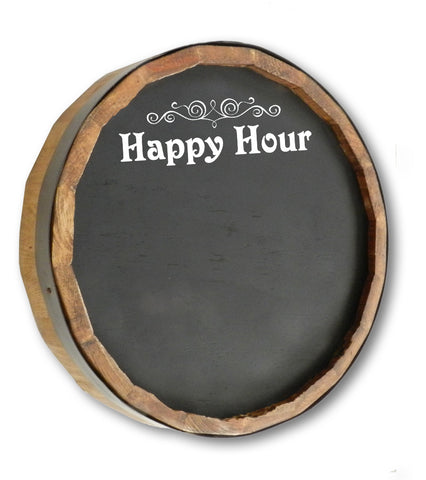 Happy Hour Quarter Barrel Top Chalkboard Sign